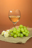 Glass of the wine, grapes and cheese Royalty Free Stock Image