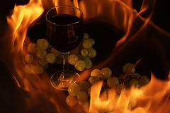 A glass of wine. Glass of wine and grapes in in fire Stock Images