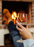 Glass of wine in hand woman Royalty Free Stock Images