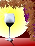 Glass of wine. Illustration representing a glass of wine lighted by the sun Stock Photography