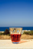 Glass of wine on the island Crete, Greece Stock Image