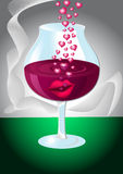 Glass of wine with lips and hearts Stock Photography
