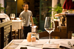 Glass Wine On Restaurant Table Stock Images