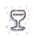 Glass wine people 3d Stock Image