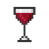 Glass wine pixel art cartoon retro game style Stock Photography
