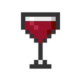 Glass wine pixel art cartoon retro game style Stock Photo