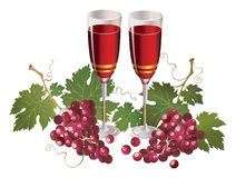 Glass with wine and red grape Stock Photo