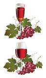 Glass with wine and red grape Stock Image