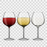 Glass with wine. Red wine. White wine. Empty glass. eps10 vector stock illustration