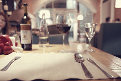 Glass of wine in the restaurant Royalty Free Stock Photos