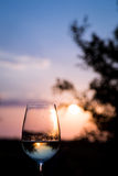 A glass of wine in Santorini Royalty Free Stock Photos