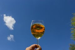 A glass of wine in the sky Royalty Free Stock Photo