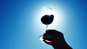 Glass of wine in the sky. Silhouette of a glass of wine, rotating in the sky. Tasting wine, copy space stock video