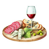Glass of wine, smoked meat and sausage and cheese on the plate. Watercolor Stock Photos