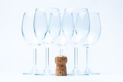 Glass wine stand symmetrically with cork Stock Photo