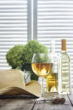 Glass of wine standing on table with straw hat Stock Image