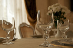 Glass of wine on table Royalty Free Stock Photography