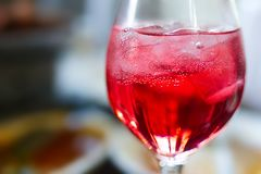 Glass of wine on table at the lunch time. Stock Image