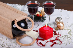 Glass of wine on table. Glass of red  wine on table Royalty Free Stock Image