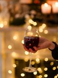 Glass of wine tasting alcohol aperitif celebration Royalty Free Stock Photos