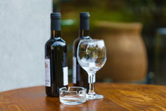 Glass of wine at tasting area Stock Photo