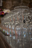 Glass. Wine and water in a pub Stock Photography