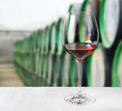 Glass of wine and wooden barrels in winery Stock Photography