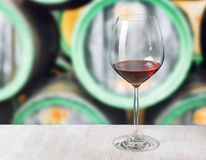 Glass of wine and wooden barrels in winery Stock Image