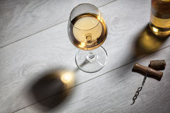 Glass of wine on wooden table. Top view Stock Photos