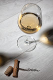 Glass of wine on wooden table. Top view Royalty Free Stock Images