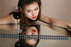 Glass of wine and youth. Stock Photos