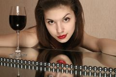 Glass of wine and youth. Stock Images