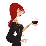 glass winekvinna Royaltyfri Bild
