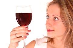 glass winekvinnabarn royaltyfri foto