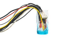 Glass with wires as concept of info consumption Stock Photos