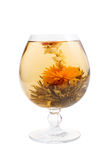 Glass With A Flower Green Tea Stock Photography
