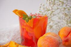 Free Glass With Fresh Homemade Peach Sweet Iced Tea Or Cocktail, Lemonade With Mint. Refreshing Cold Drink. Summer Party Stock Image - 152841761