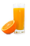 Glass With Orange Juice And Orange Royalty Free Stock Image