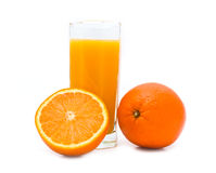 Glass With Orange Juice And Orange Stock Image