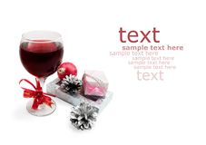 Glass With Wine And Gifts