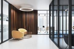 Wooden office lobby, armchairs vector illustration
