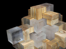 Glass and wood puzzle. Like art object Stock Photo