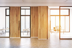 Glass and wooden walls office lobby, toned Royalty Free Stock Image