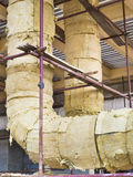 Glass wool pipe insulation Royalty Free Stock Images