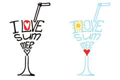 Glass from wordsI love summer.Typography Design set. Typography  Design set.Silhouette of  glass of drink from words .The message I love Summer.To use asicon Royalty Free Stock Images