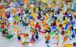 Glass work of tiny figures of animals Royalty Free Stock Photos