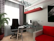 Glass workplace. Modern interior of office, exclusive design Royalty Free Stock Photos