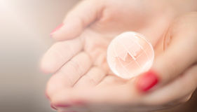 Glass world in your hands Stock Photography