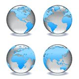 Glass worlds Crystal globes. Four glass or crystal globes each showing a different part of the world Royalty Free Stock Image