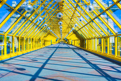 Glass Yellow corridor in office. Yellow Glass corridor in office center Royalty Free Stock Photos